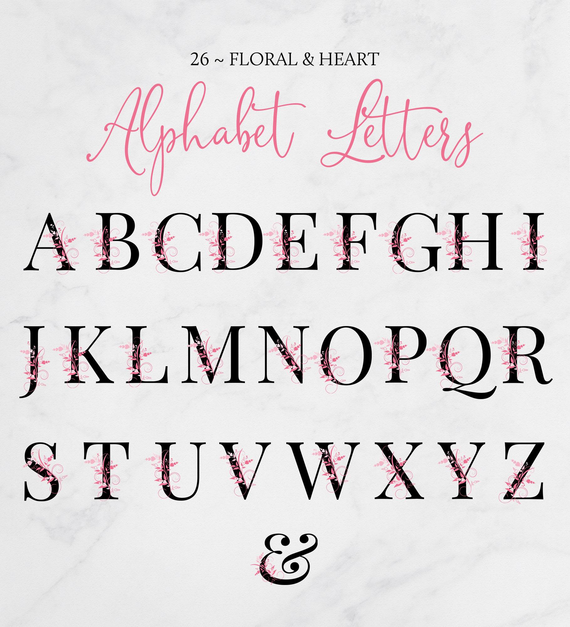 Floral & Heart Alphabet
