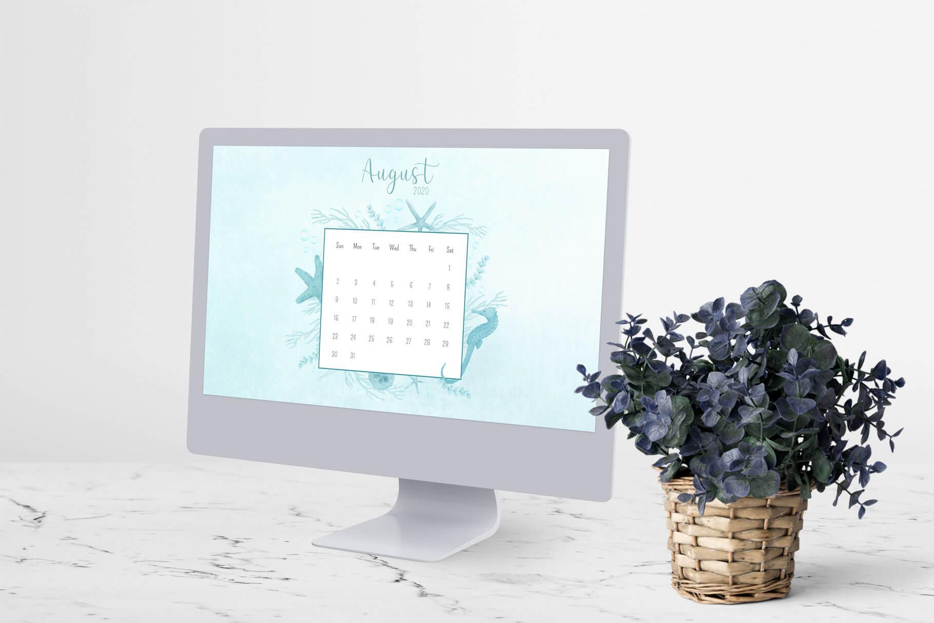 Desktop Calendar August,2020