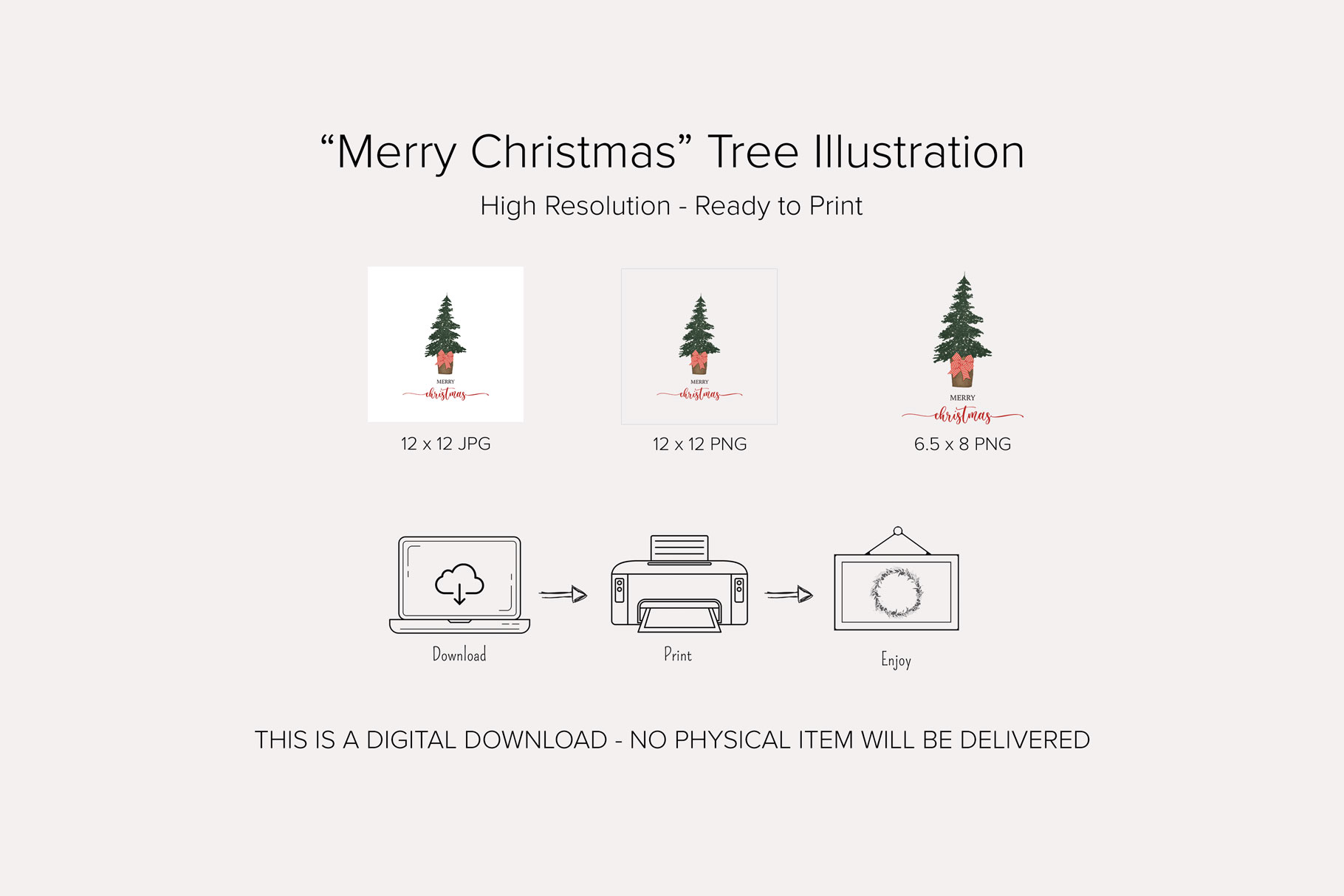 """Merry Christmas"" Tree Illustration"